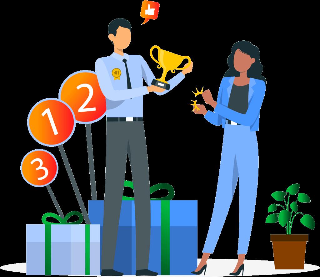 imagem mostrando uma pessoa recebendo um prêmio